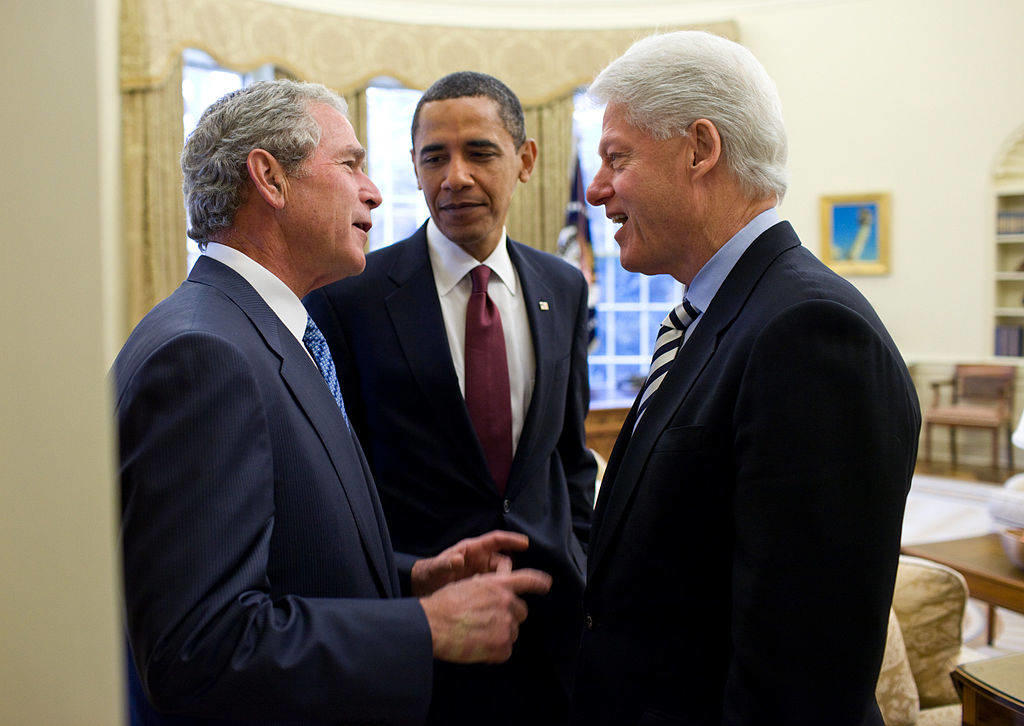 Presidents Bush, Obama, and Clinton discuss the aftereffects of the 2010 earthquake in Haiti.