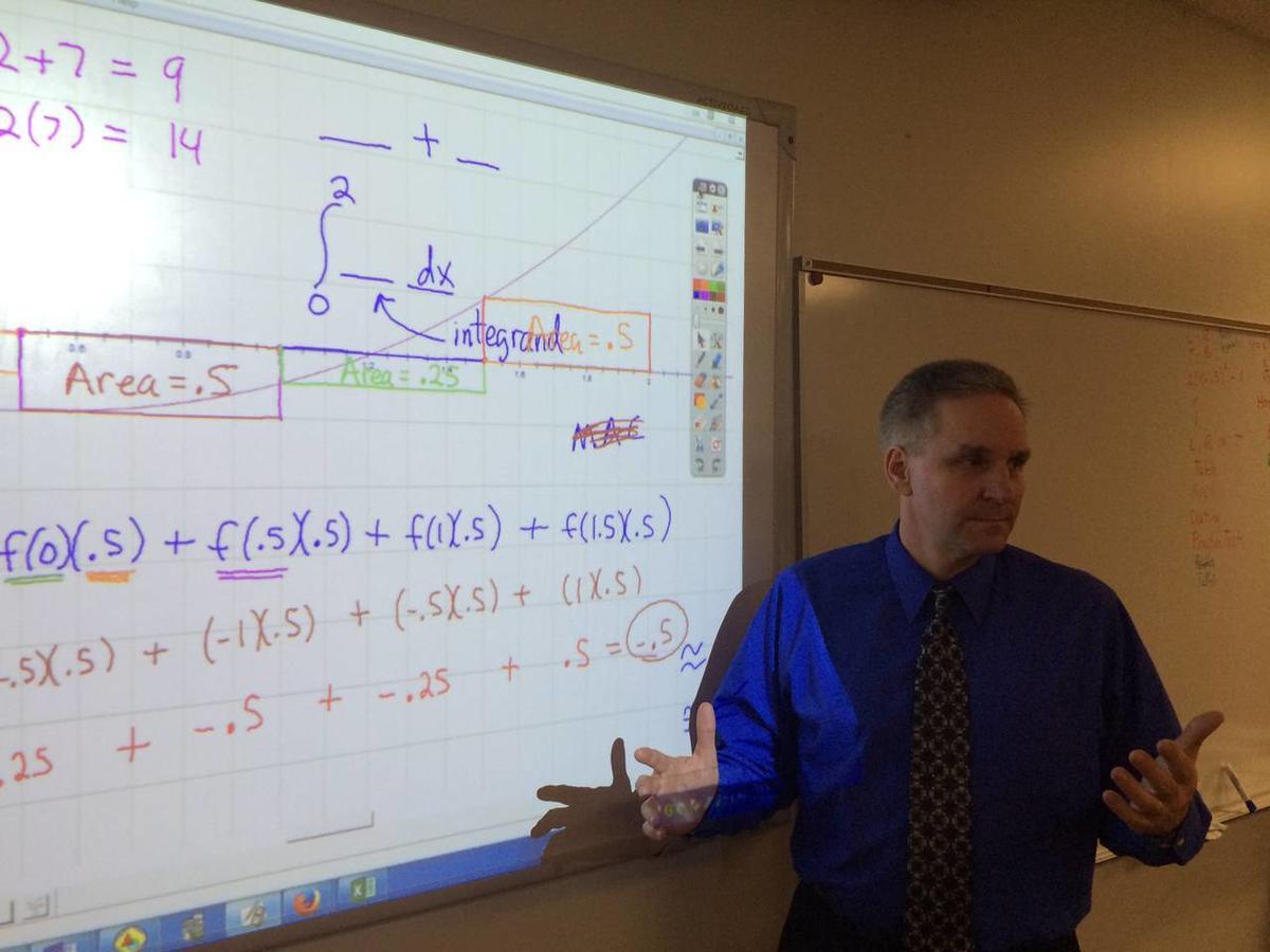 Lone Peak High School calculus teacher Craig Smith teaches one of his classes.