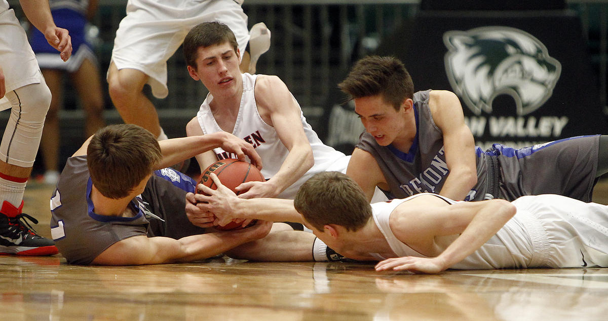 American Fork and Fremont battle for a loose ball in the first round of the 5A boys basketball tournament at the UCCU Events Center in Orem, Tuesday, March 1, 2016.