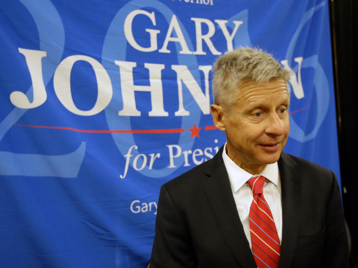FILE - Libertarian presidential candidate Gary Johnson speaks to supporters and delegates at the National Libertarian Party Convention, Friday, May 27, 2016, in Orlando, Fla.