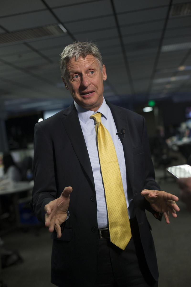 Libertarian presidential candidate Gary Johnson Libertarian speaks to Deseret News, KSL-TV and KSL Radio reporters at the Triad Center in Salt Lake City on Wednesday, Oct. 12, 2016.