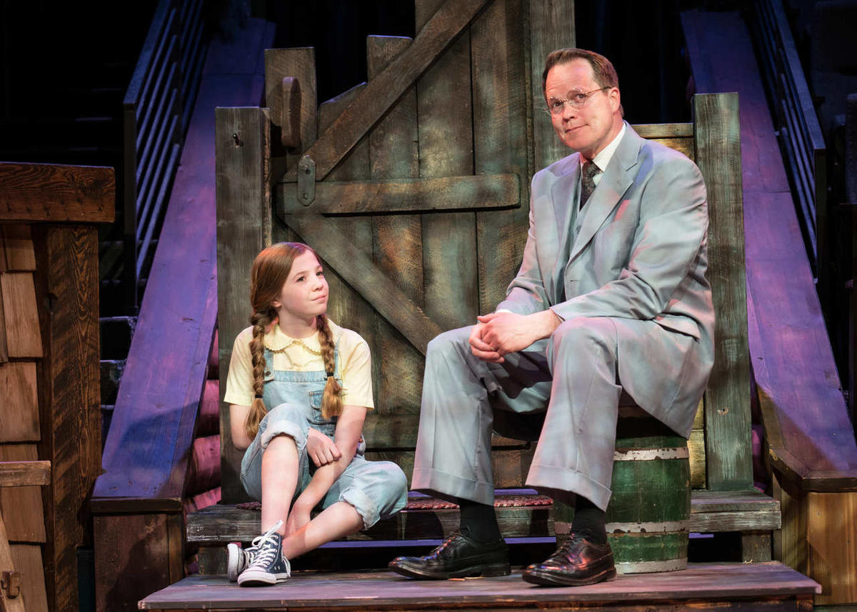 """Alyssa Buckner (Tuesday/Thursday/Saturday cast) as Scout and Mitch Hall as Atticus Finch in Hale Centre Theatre's """"To Kill a Mockingbird."""" Hall plays the role of Finch in both casts."""