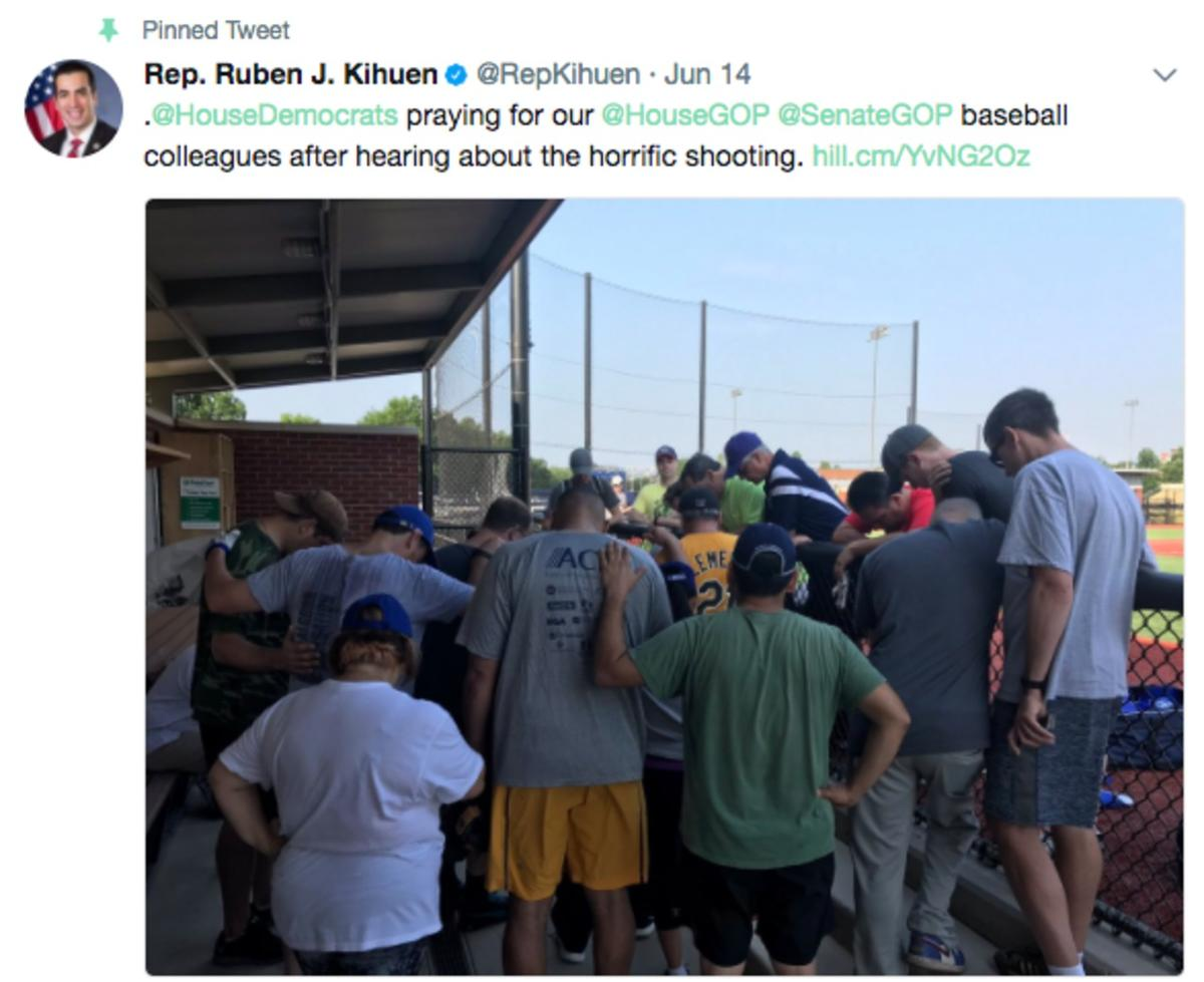 Democrats pray for their Republican colleagues who were injured in a shooting during a practice for the Congressional Baseball Game.