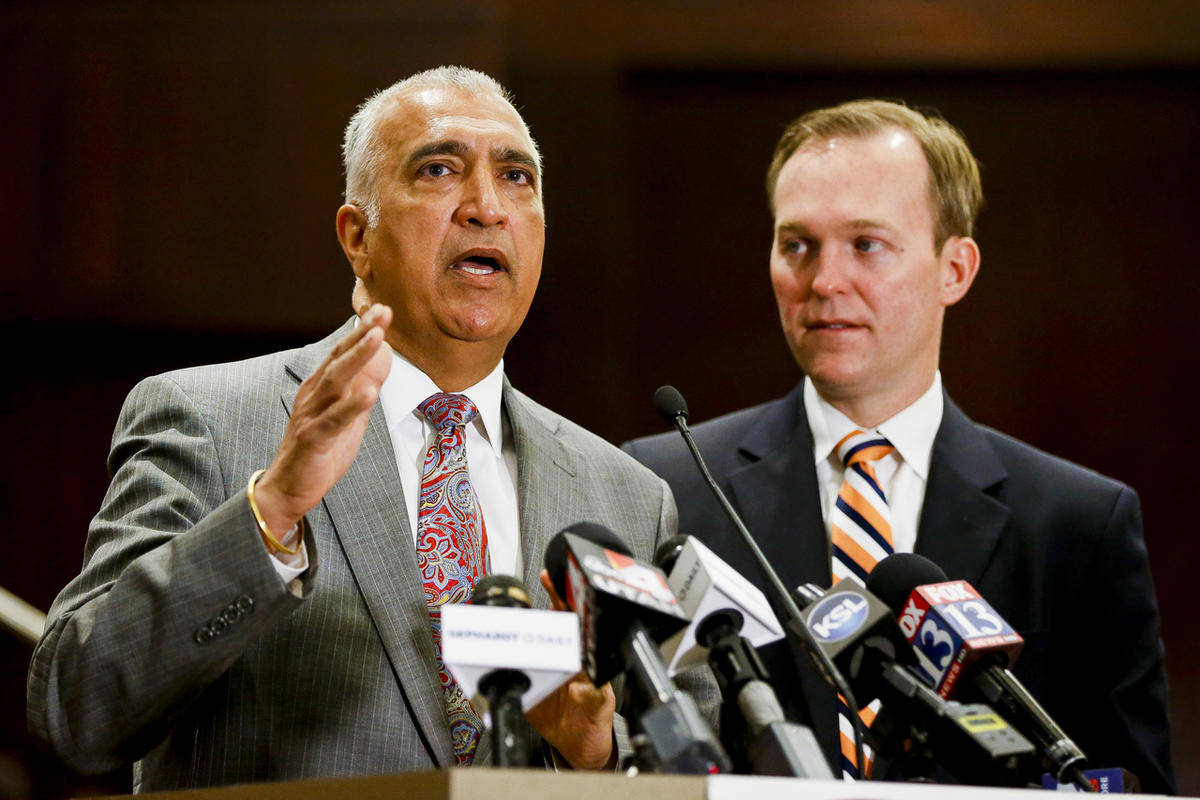 Salt Lake County District Attorney Sim Gill speaks during a meeting with the press at Salt Lake County Government Center in Salt Lake City on Monday, May 1, 2017. The number of Utah criminals on parole or probation who are missing or unaccounted for has j