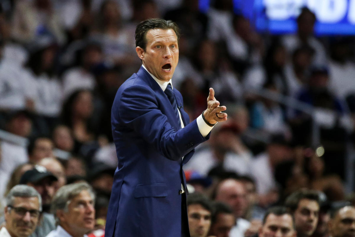 FILE: Utah Jazz head coach Quin Snyder directs players in the second half of game 7 of the first round NBA playoffs series between the Utah Jazz and Los Angeles Clippers at the Staples Center in Los Angeles on Sunday, April 30, 2017.