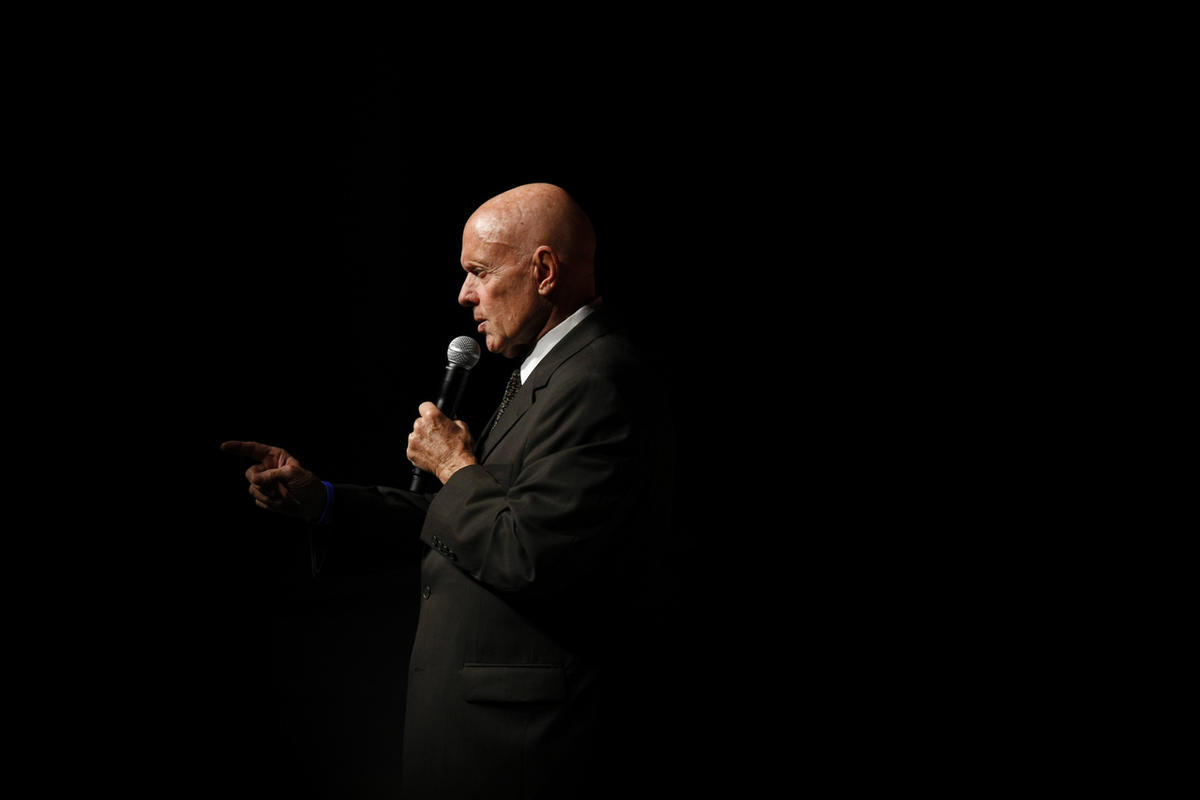 Stephen Covey speaks to students during the forum Mexico XXI Century, organized by Telmex Foundation, at the National Auditorium in Mexico City, Tuesday, Sept. 9, 2008. (AP Photo/Gregory Bull)