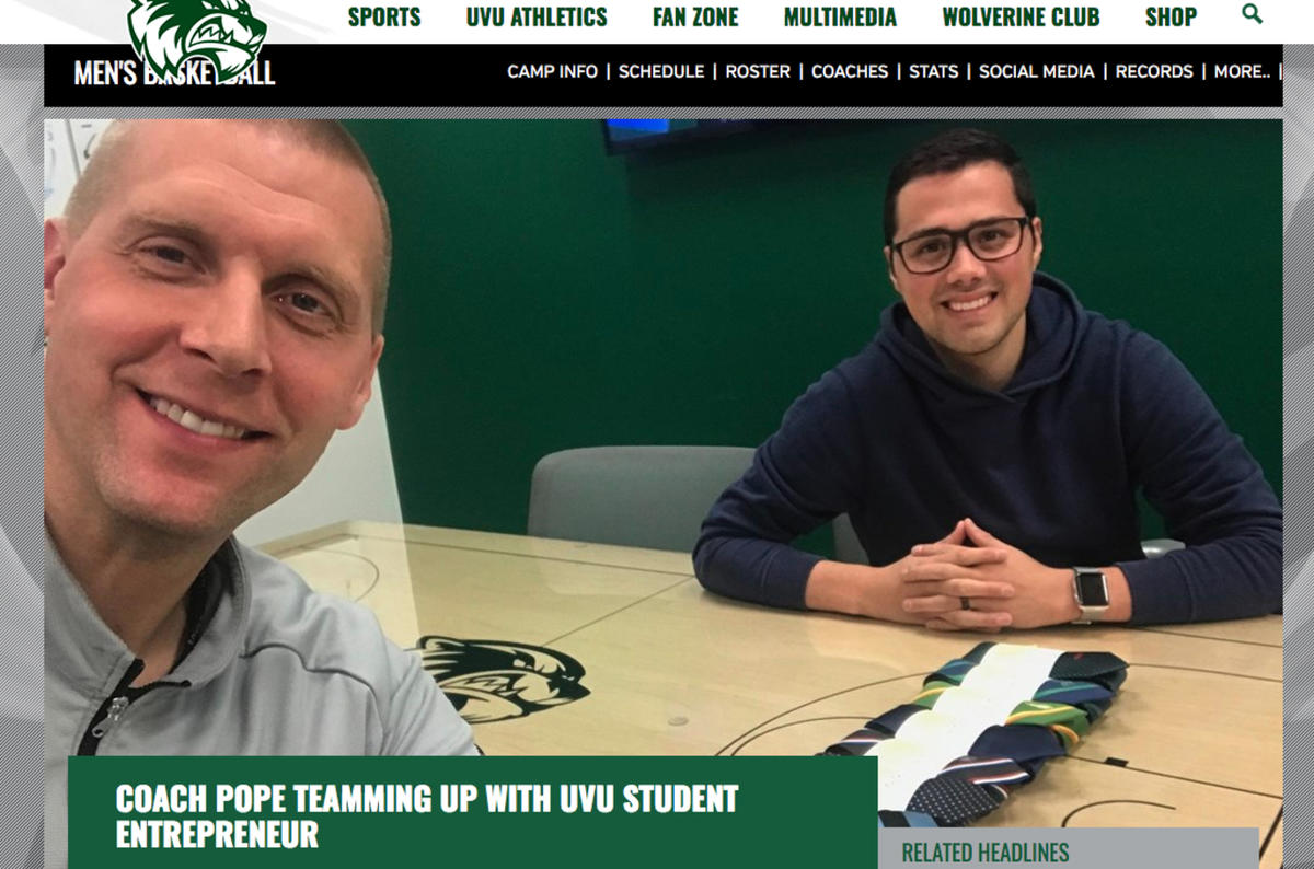UVU basketball coach Mark Pope is collaborating with student and returned missionary Noel Lopez to give neckties to opposing coaches this season.