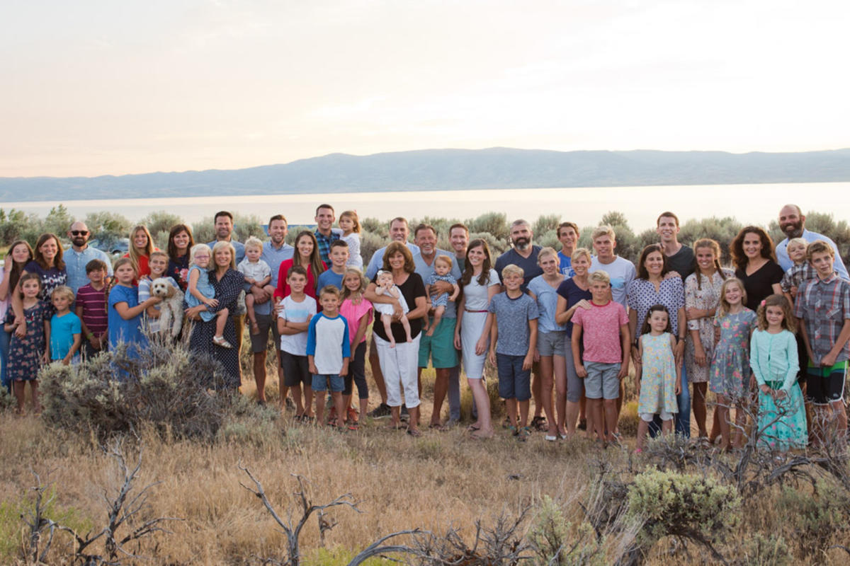 Richard and Linda Eyre with their family at Bear Lake this summer.