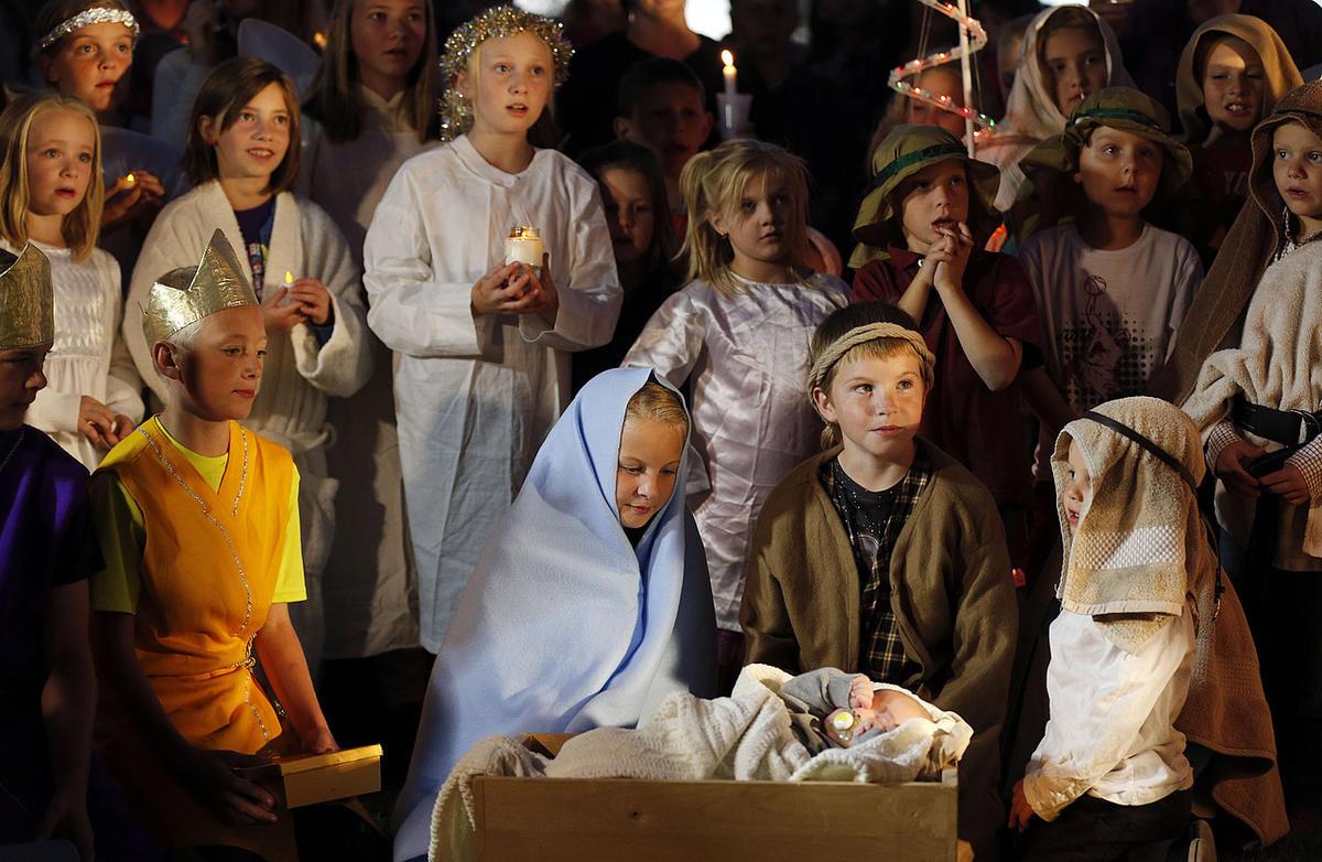 Children participate in a Nativity scene in West Jordan in 2014.