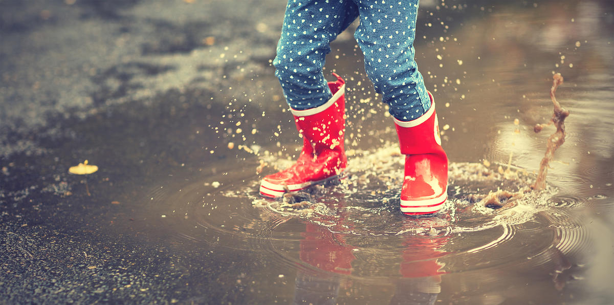 One of the most basic joys that we can learn from our kids is the joy of spontaneous delight, including jumping in a puddle.