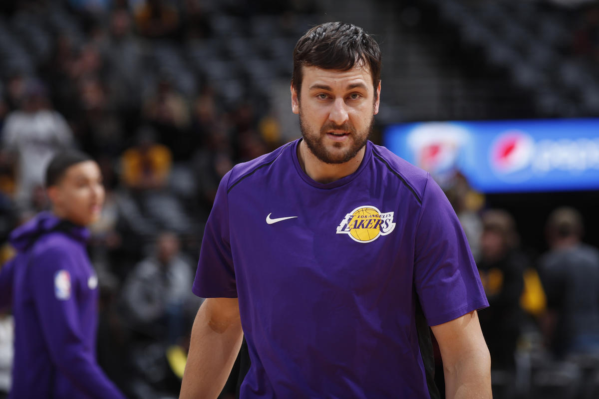 Los Angeles Lakers center Andrew Bogut (66) in the first half of an NBA basketball game Saturday, Dec. 2, 2017, in Denver. (AP Photo/David Zalubowski)