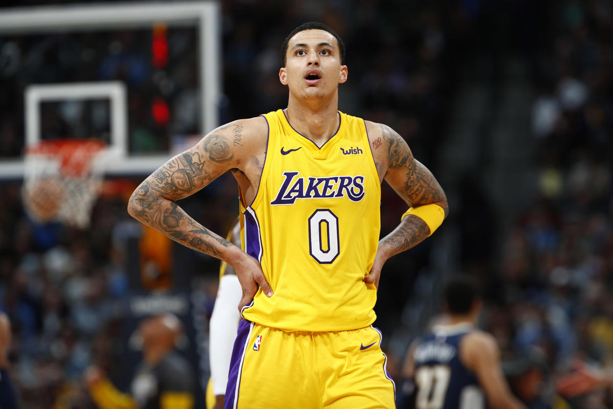 Los Angeles Lakers forward Kyle Kuzma (0) in the second half of an NBA basketball game Friday, March 9, 2018, in Denver. The Nuggets won 125-116.(AP Photo/David Zalubowski)