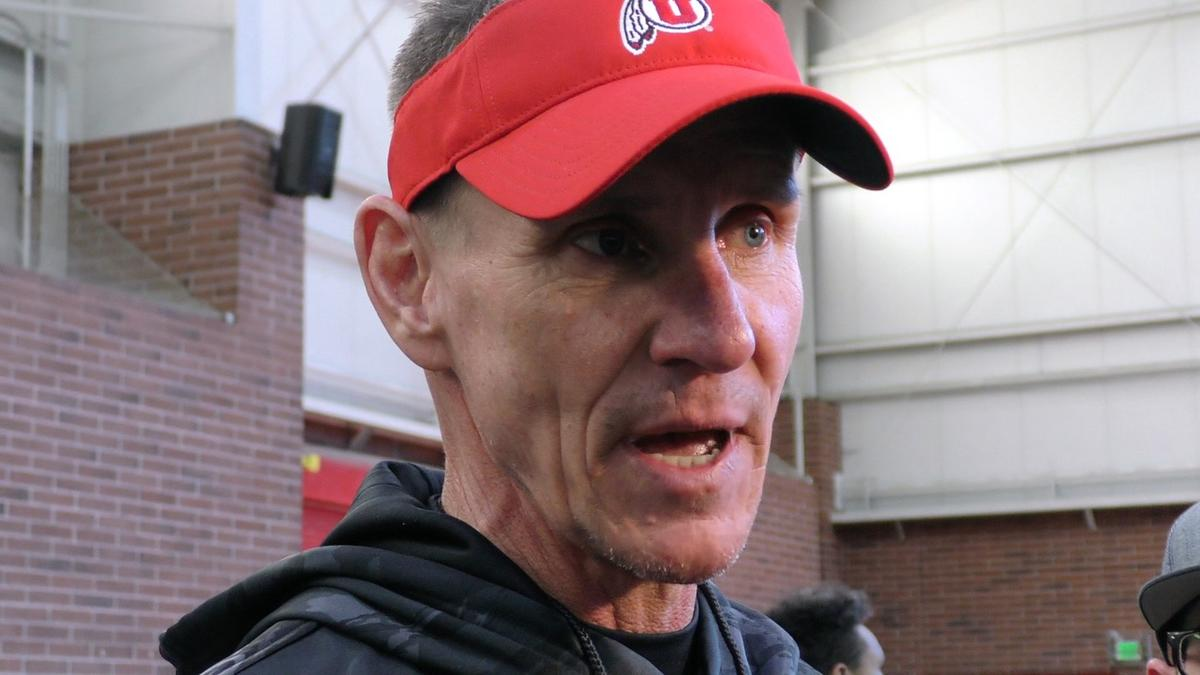 Utah associated head coach/defensive line coach Gary Andersen talks with the media following the Utes' first practice of spring camp in the Spence Eccles Field House on Monday, March 5, 2018 in Salt Lake City.