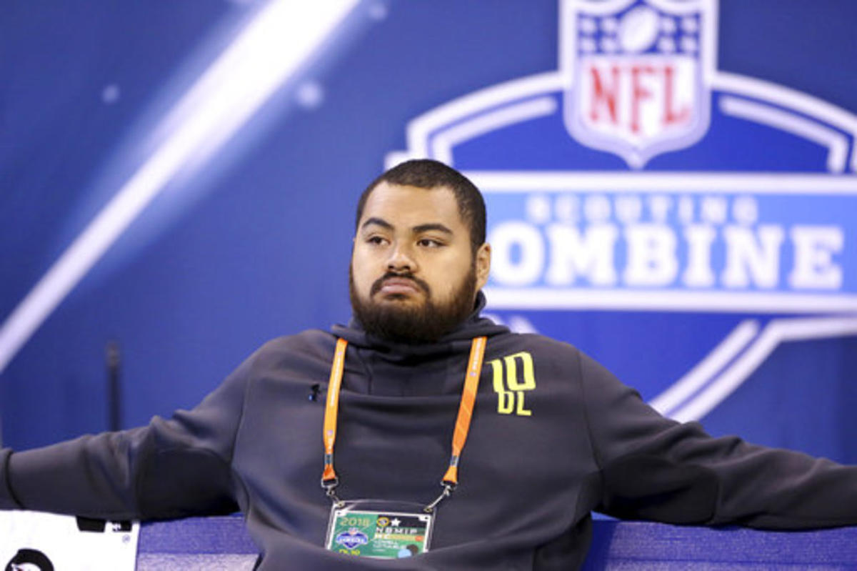Utah defensive lineman Lowell Lotulelei is seen at the 2018 NFL Scouting Combine on Sunday, March 4, 2018, in Indianapolis. (AP Photo/Gregory Payan)