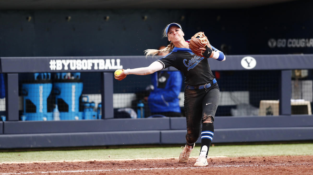 Caitlyn Alldredge throws the ball. She smashed a three-run homer in BYU's 16-0 win over UAlbany in the Eugene Regional. The Cougars then fell to Drake, 3-0, in the nightcap and finished their postseason run.