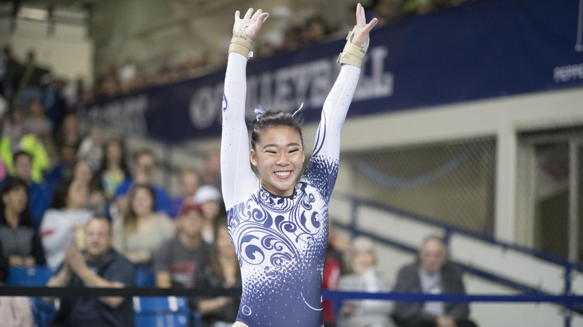 Angel Zhong performs her routine during. Zhong is majoring in neuroscience with a minor in family life and maintains a 4.0 GPA.