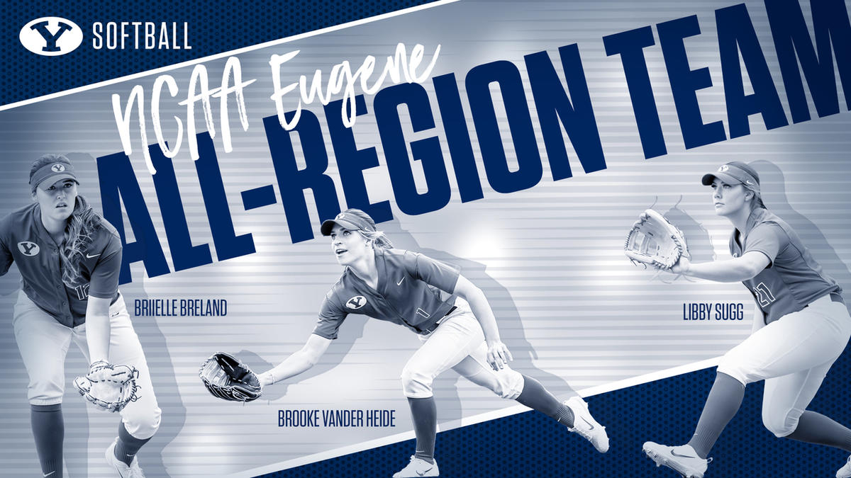 BYU softball senior Briielle Breland (left), sophomore Brooke Vander Heide (center) and junior Libby Sugg (right) were named to the NCAA Eugene All-Region Team after their performances against Drake and UAlbany last week.