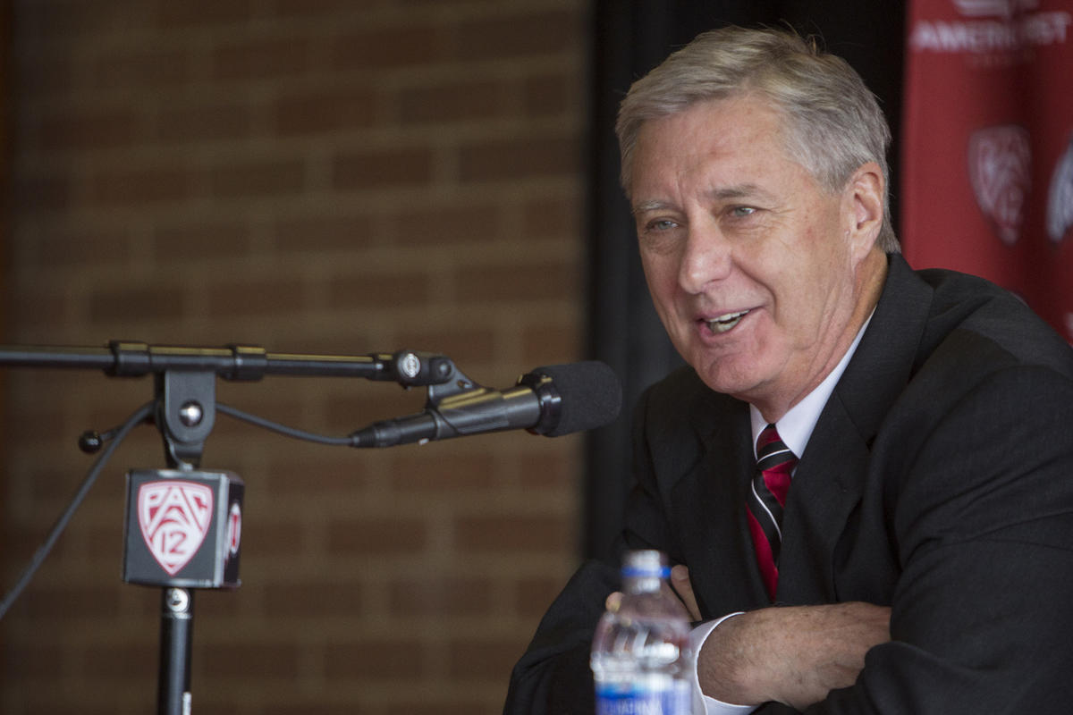 University of Utah athletic director Chris Hill speaks during a press conference regarding his retirement after 31 years in the position at Jon M. Huntsman Center in Salt Lake City on Monday, March 26, 2018. Hill was 37 years old when he took the position