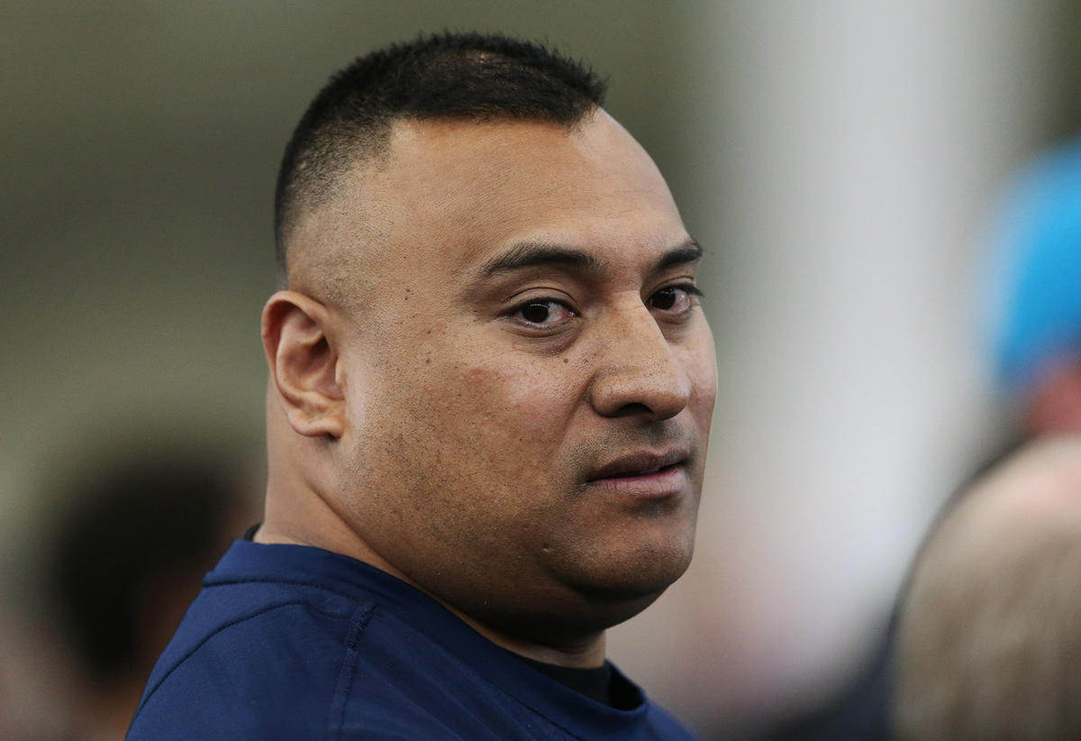Brigham Young Cougars head coach Kalani Sitake watches during BYU Pro Day in Provo on Friday, March 30, 2018.