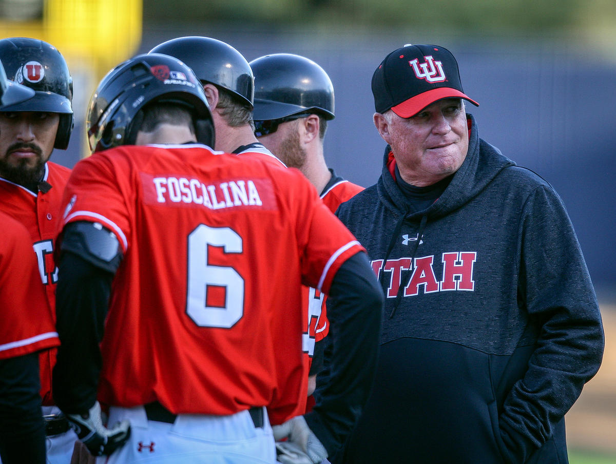 University of Utah Utes head coach Bill Kinneberg looks back to the dugout during a meeting at the mound as the Brigham Young Cougars host the University of Utah Utes at Larry H. Miller Field in Provo on Tuesday, April 24, 2018.