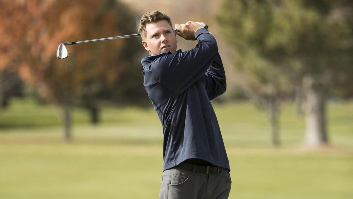 Rhett Rasmussen tees off. He is currently even at the NCAA Championships, while the BYU men's golf team is currently tied for 19th after the first round of golf.