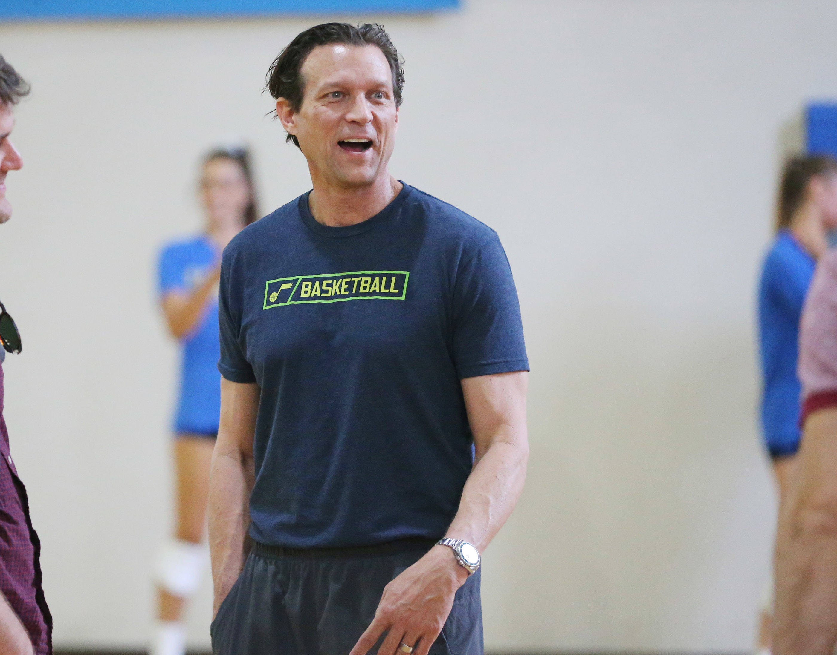 Utah Jazz head coach Quin Snyder talks after practice at UCLA in Los Angeles on Monday, April 17, 2017.