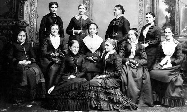 Leading women of Utah. Front row: Jane S. Richards, left, Emmeline Wells. Middle row: Phoebe Woodruff, Isabelle Horne, Eliza R. Snow, Zina Young, Marinda Hyde. Back row: Dr. Ellis R. Shipp, Bathsheba W. Smith, Elizabeth Howard, Dr. Romania Pratt Penrose.