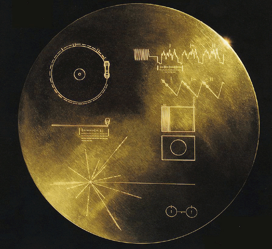 This undated image provided by NASA shows the cover of the 12-inch gold-plated copper disk that both Voyager spacecraft carry. The phonograph record contains sounds and images selected to portray the diversity of life and culture on Earth.