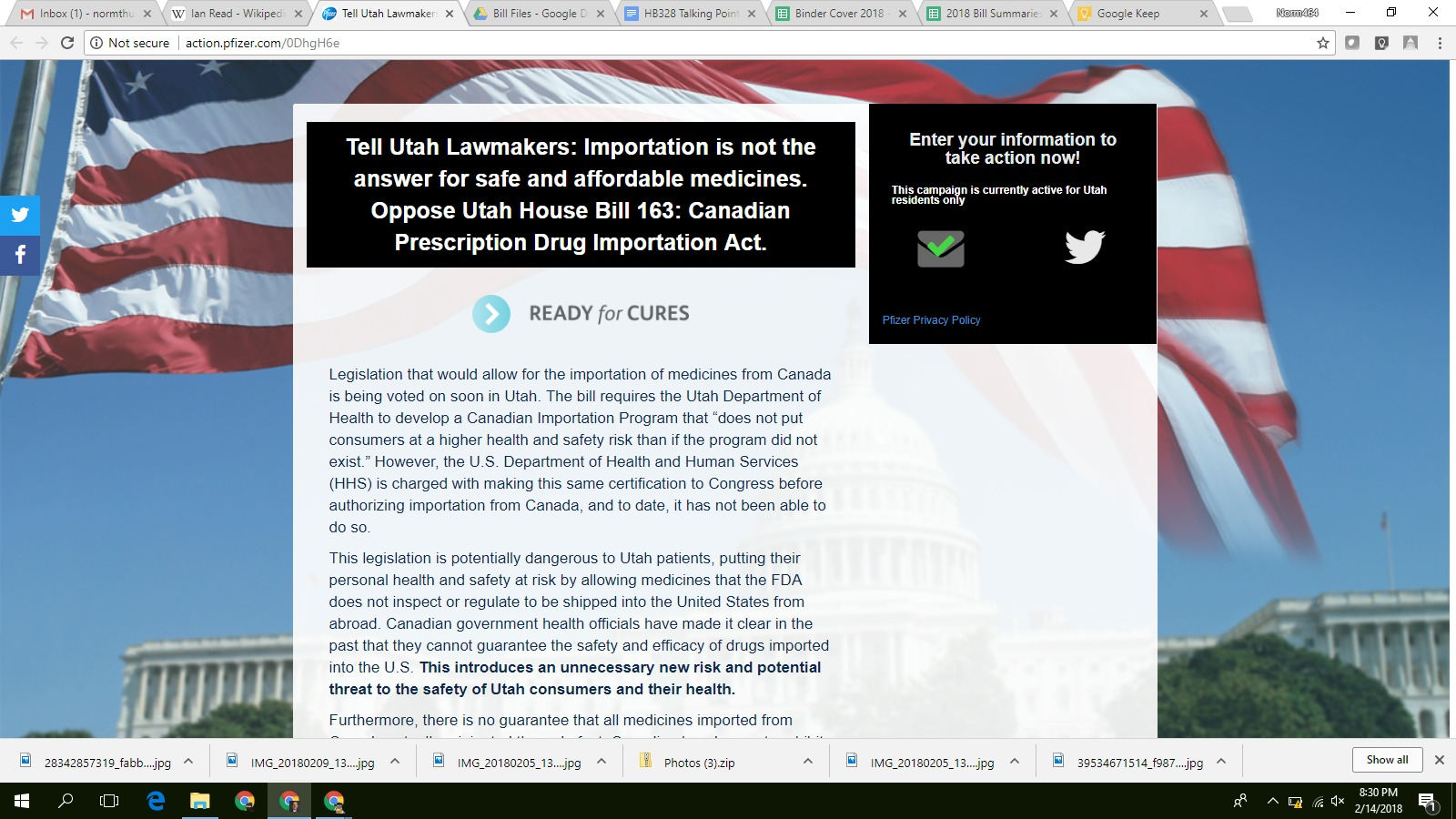 A screenshot of the political action page on Pfizer's website speaking against HB163, which would allow drugs to be imported from Canada.