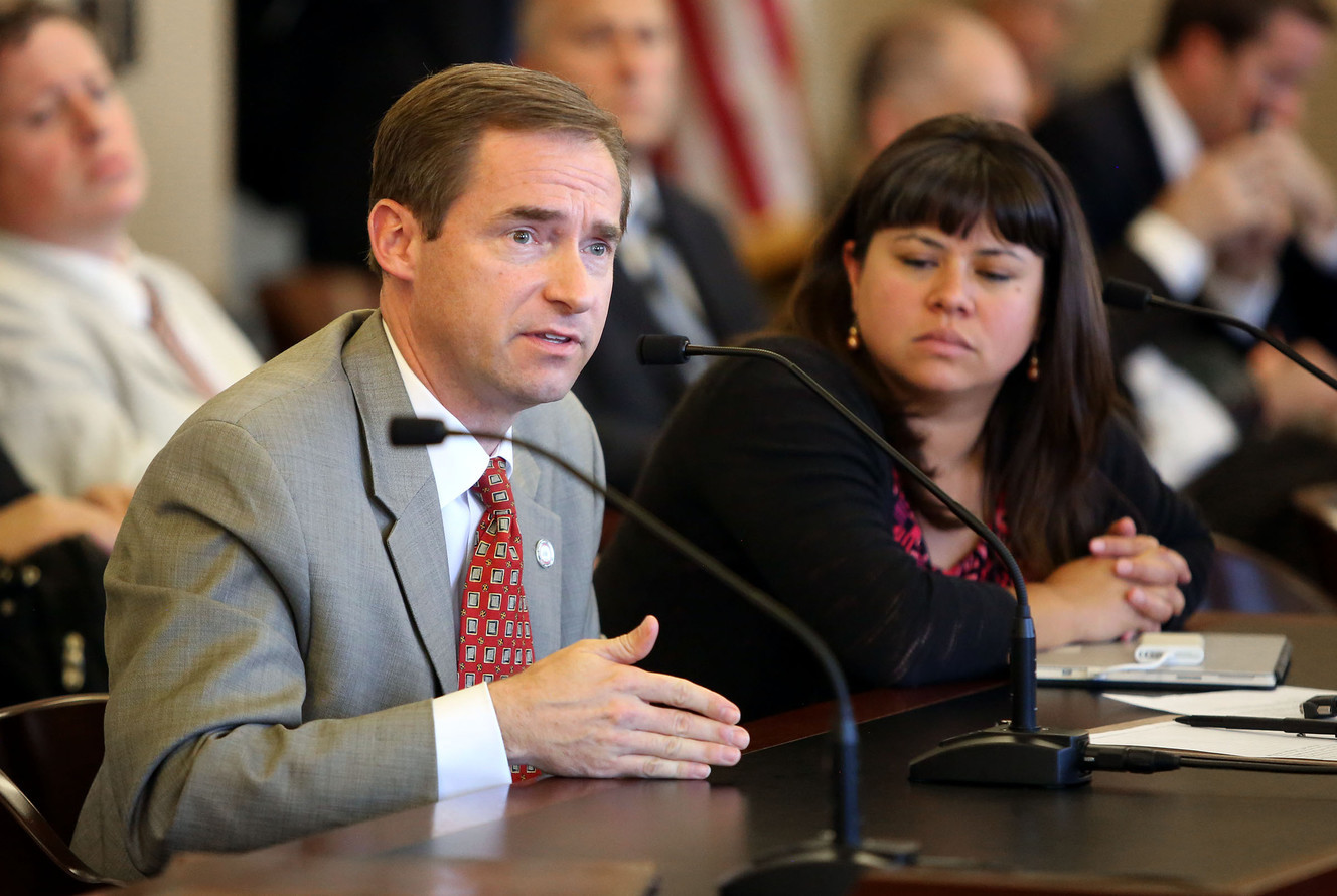 FILE - Rep. Steve Eliason talks at the State Capitol in Salt Lake City on Wednesday, Sept. 21, 2016.