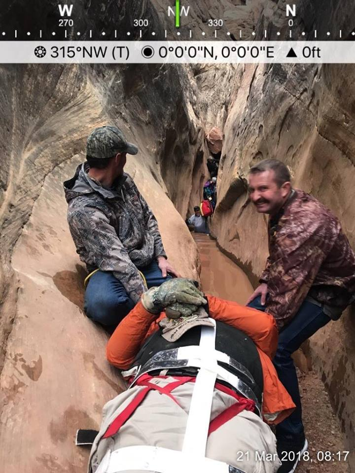 A 26-man from Nephi was rescued Wednesday morning after he fell and broke his leg in a remote slot canyon near Goblin Valley State Park.
