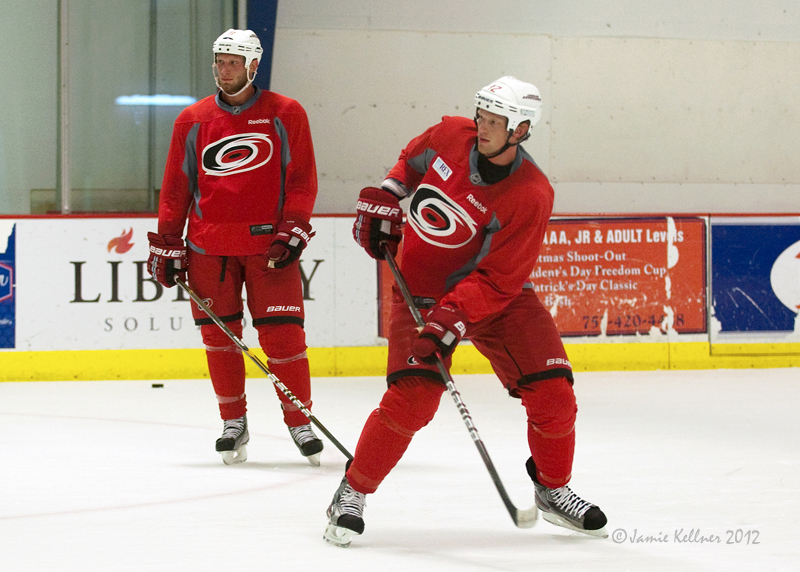 The Brothers Staal are key to the high expectations for the Carolina Hurricanes this season. Above, Jordan (left) and Eric Staal together at a preseason skate in Raleigh in September.