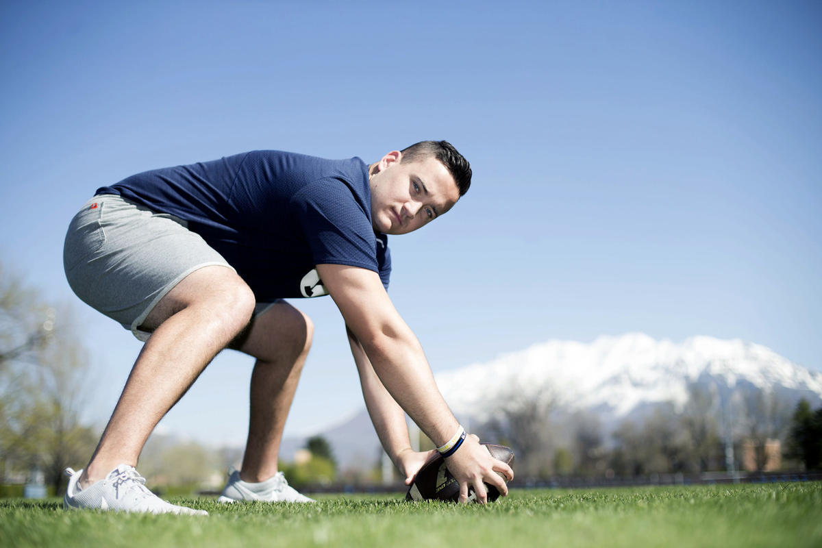 BYU long snapper Matt Foley is photographed in Provo on Thursday, April 13, 2017.