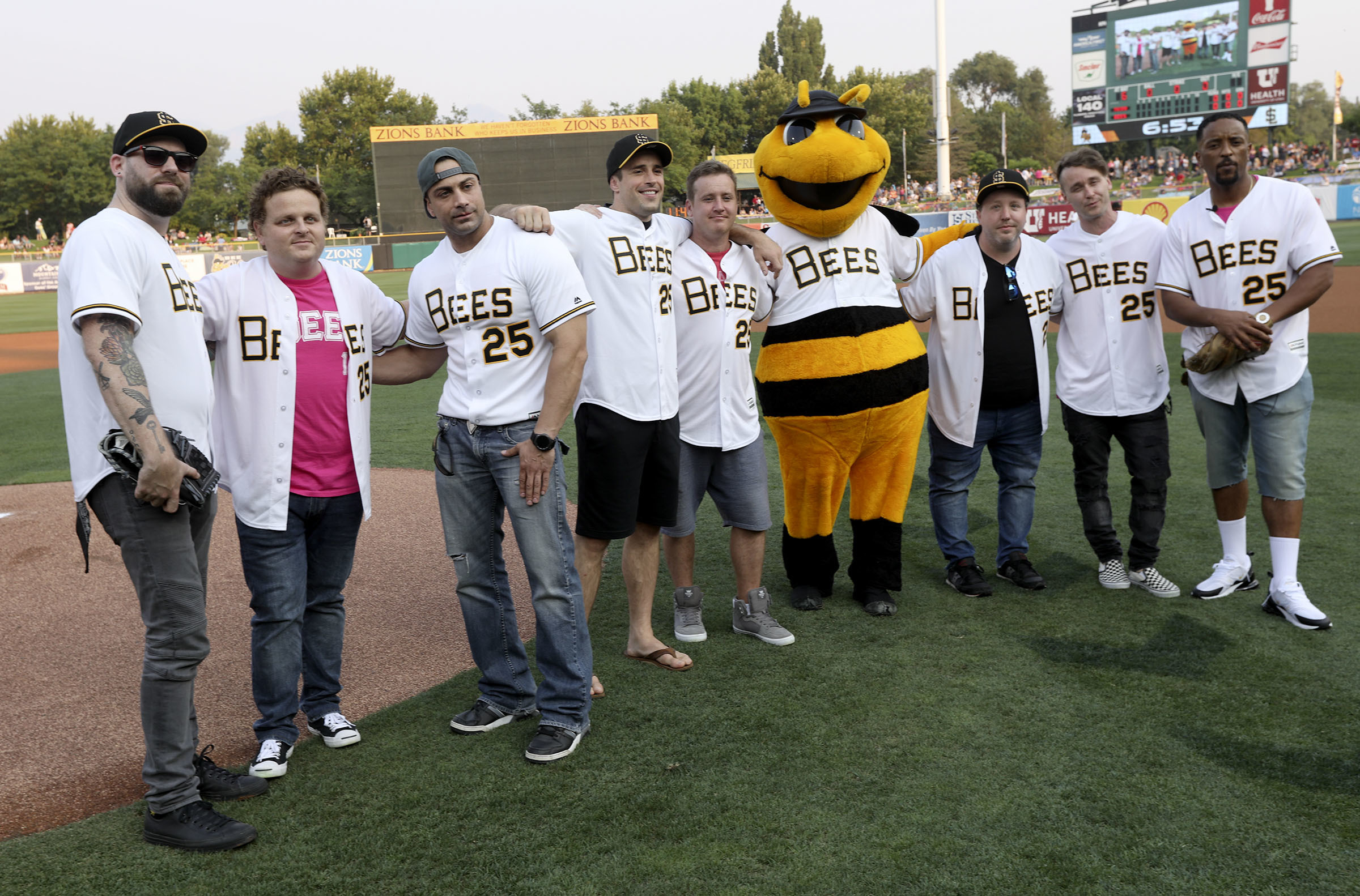 The cast of The Sandlot gathers to celebrate the movie's 25th anniversary at Smith's Ballpark in Salt Lake City, on Thursday, Aug. 9, 2018.