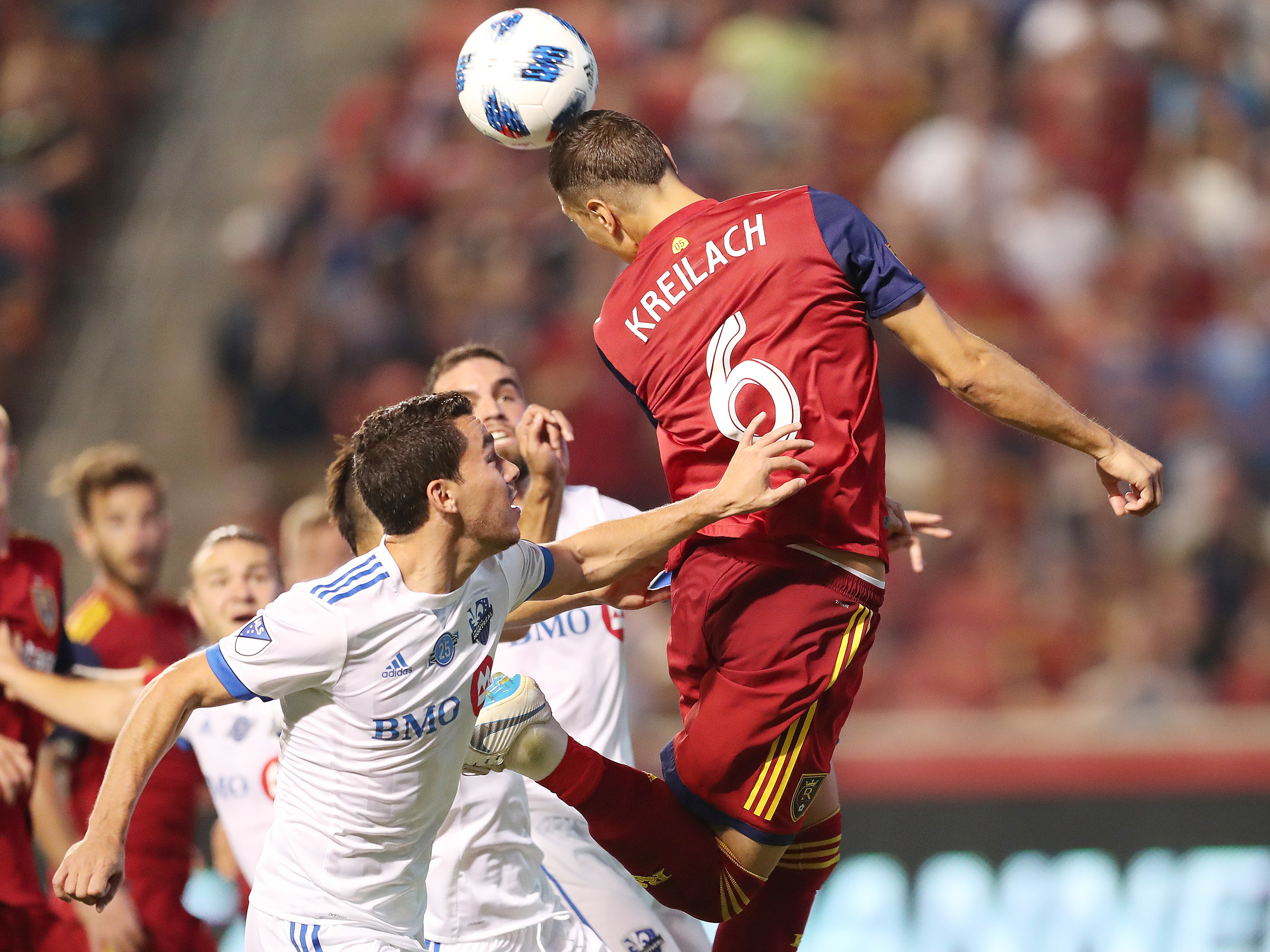 Real Salt Lake midfielder Damir Kreilach (6) heads the ball against Montreal Impact in Sandy on Saturday, Aug. 11, 2018. Real tied Montreal 1-1.