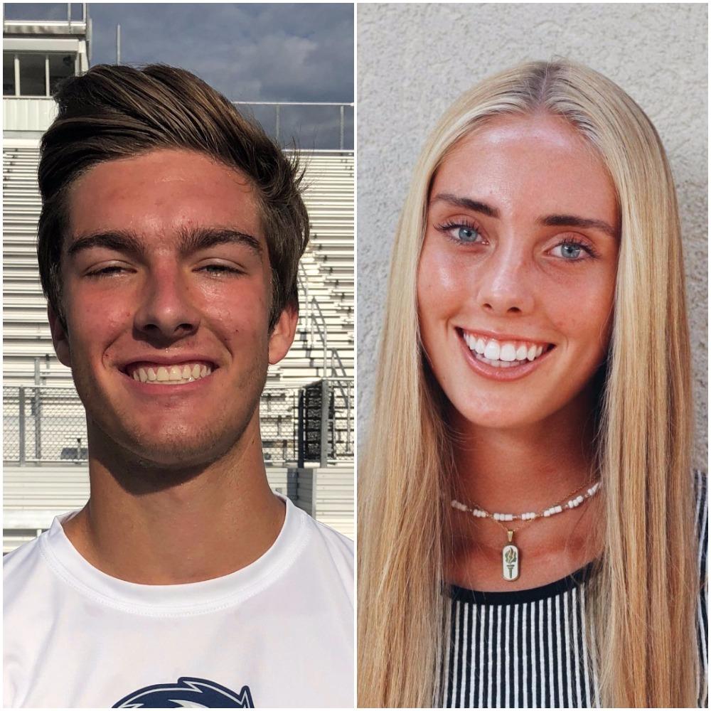 Cole Hagen, Corner Canyon football, and Elisabeth Ferrell, Farmington cross country