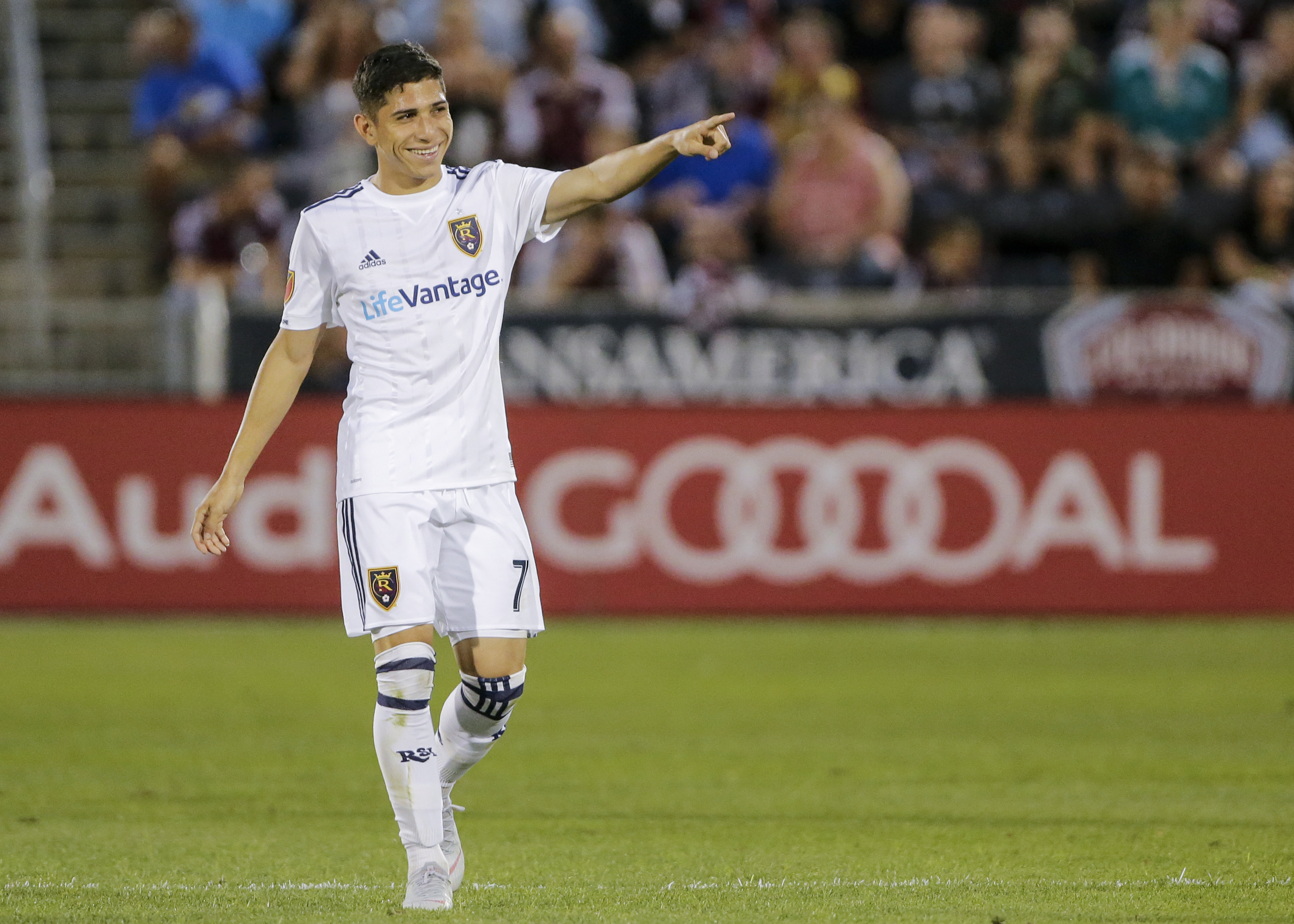 Real Salt Lake forward Jefferson Savarino celebrates a goal against the Colorado Rapids during the first half of an MLS soccer match Saturday, Aug. 25, 2018, in Commerce City, Colo. (AP Photo/Jack Dempsey)