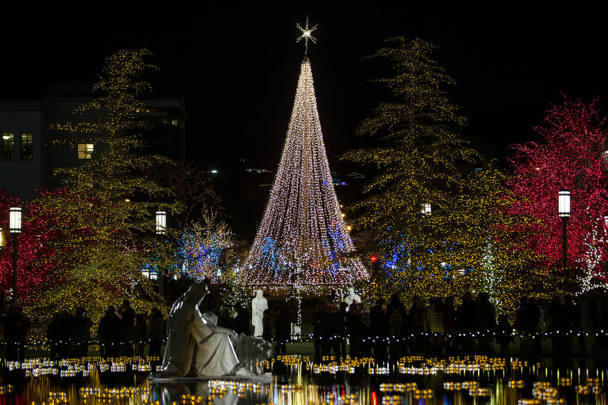 People tour the Christmas lights near Temple Square in Salt Lake City on Friday, Nov. 25, 2016.