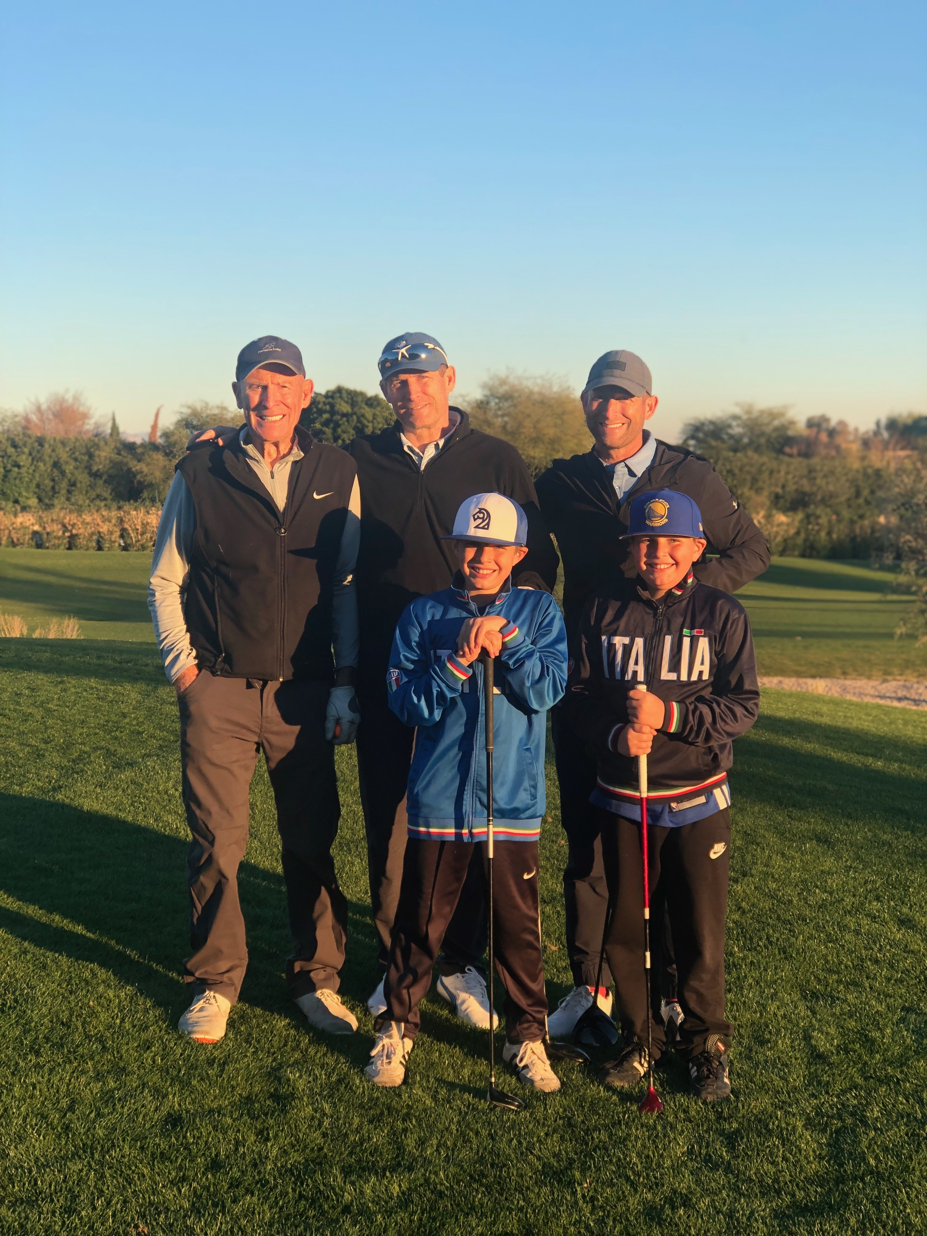 Left to right, Grit, Steve and Tom Young, with Tom's twins Luke and Max sin front, had a rare opportunity to play a round of golf to begin the new year. Luke and Max got to come along to take score and hit a ball or two. We can't get too busy that we don'