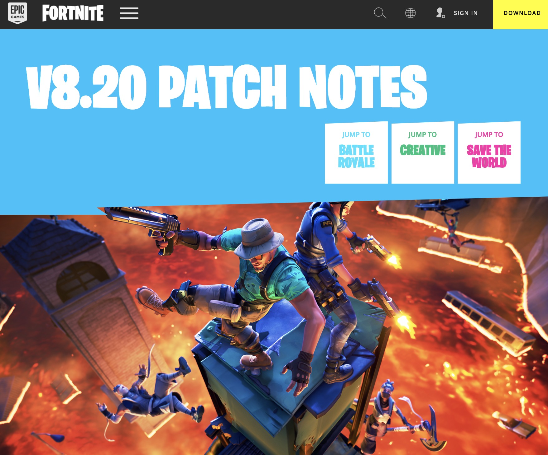 """Epic Games released its patch notes for the 8.20 patch, which will add a new limited time mode called """"The Floor is Lava."""""""