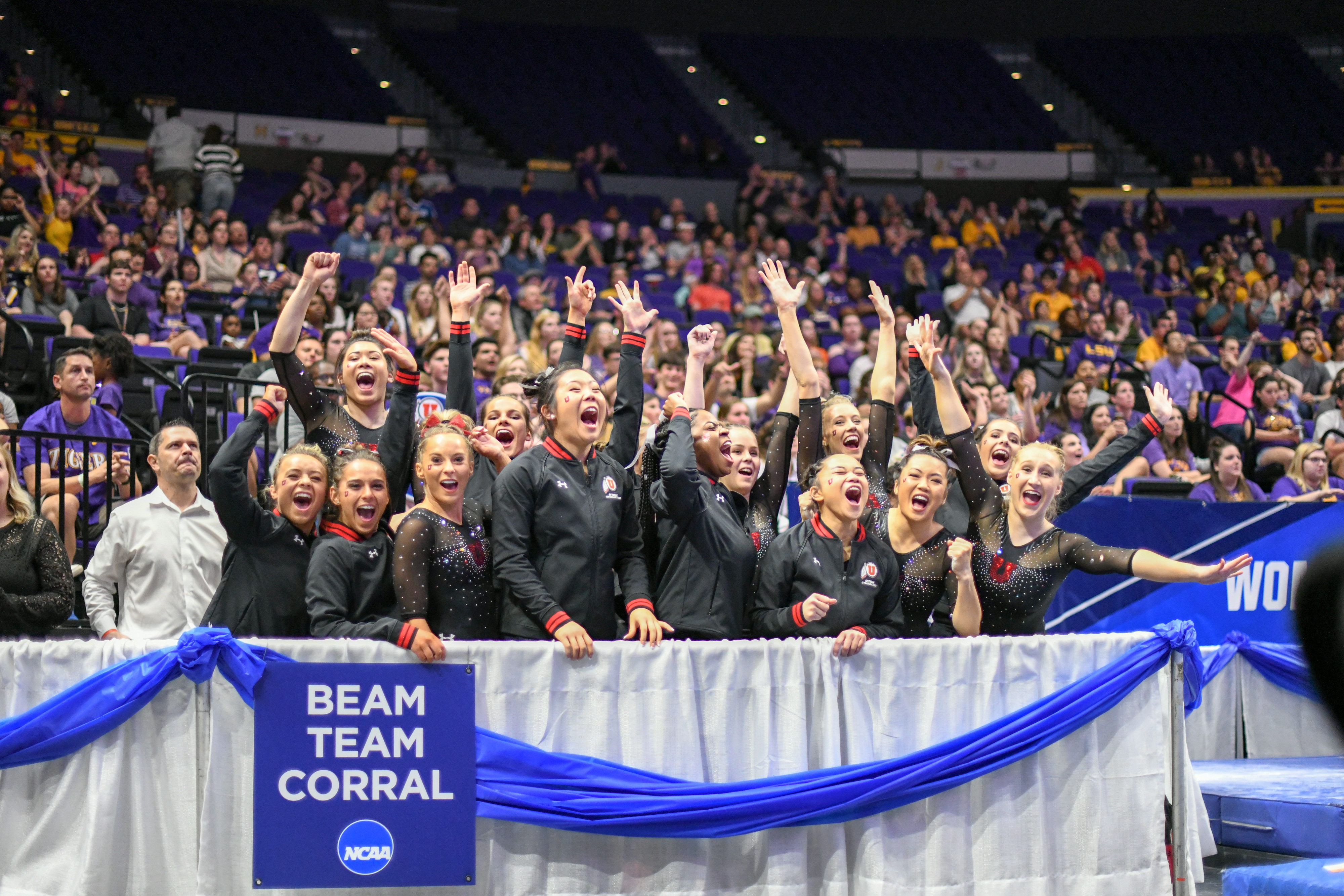 The University of Utah gymnastics team celebrates their second-place finish at the NCAA Baton Rouge Regional final in Baton Rouge, La., on Saturday, April 6, 2019. The top-two finish secured Utah its 44th consecutive berth in the national championships.