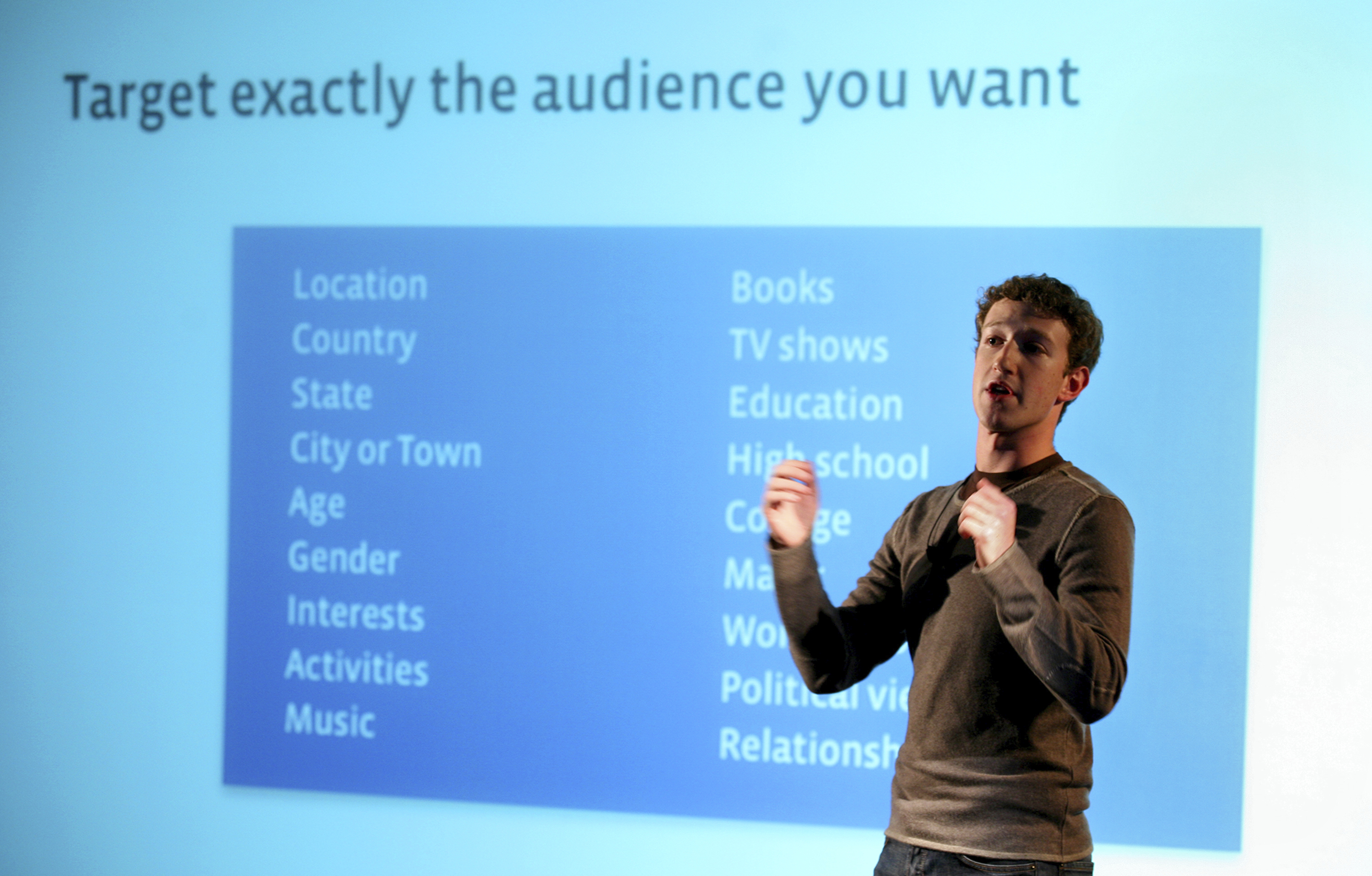 FILE - Facebook CEO and founder Mark Zuckerberg speaks to press and advertising partners at a Facebook announcement in New York, Monday, Nov. 6, 2007.
