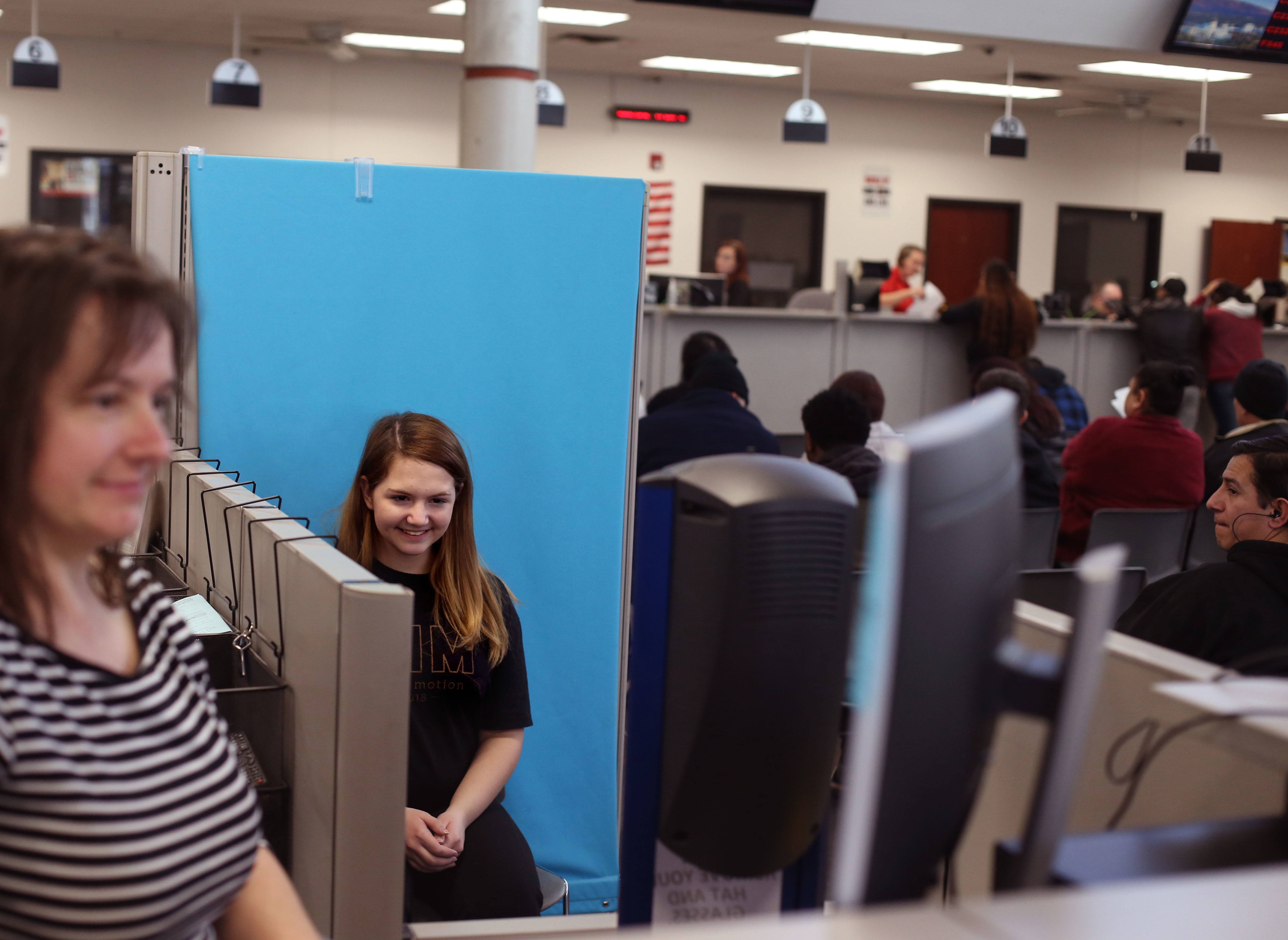 Nyla Parks has her photograph taken for her driver's license at the driver license division in West Valley City on Wednesday, Jan. 30, 2019.
