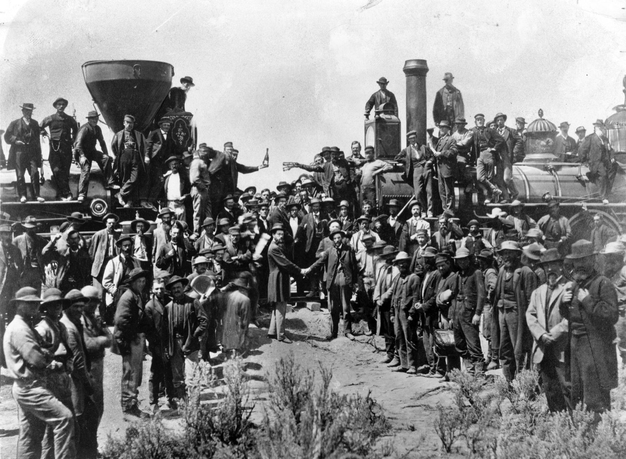 Photo taken at Promontory Summit on May 10, 1869, at the completion of the Transcontinental Railroad.