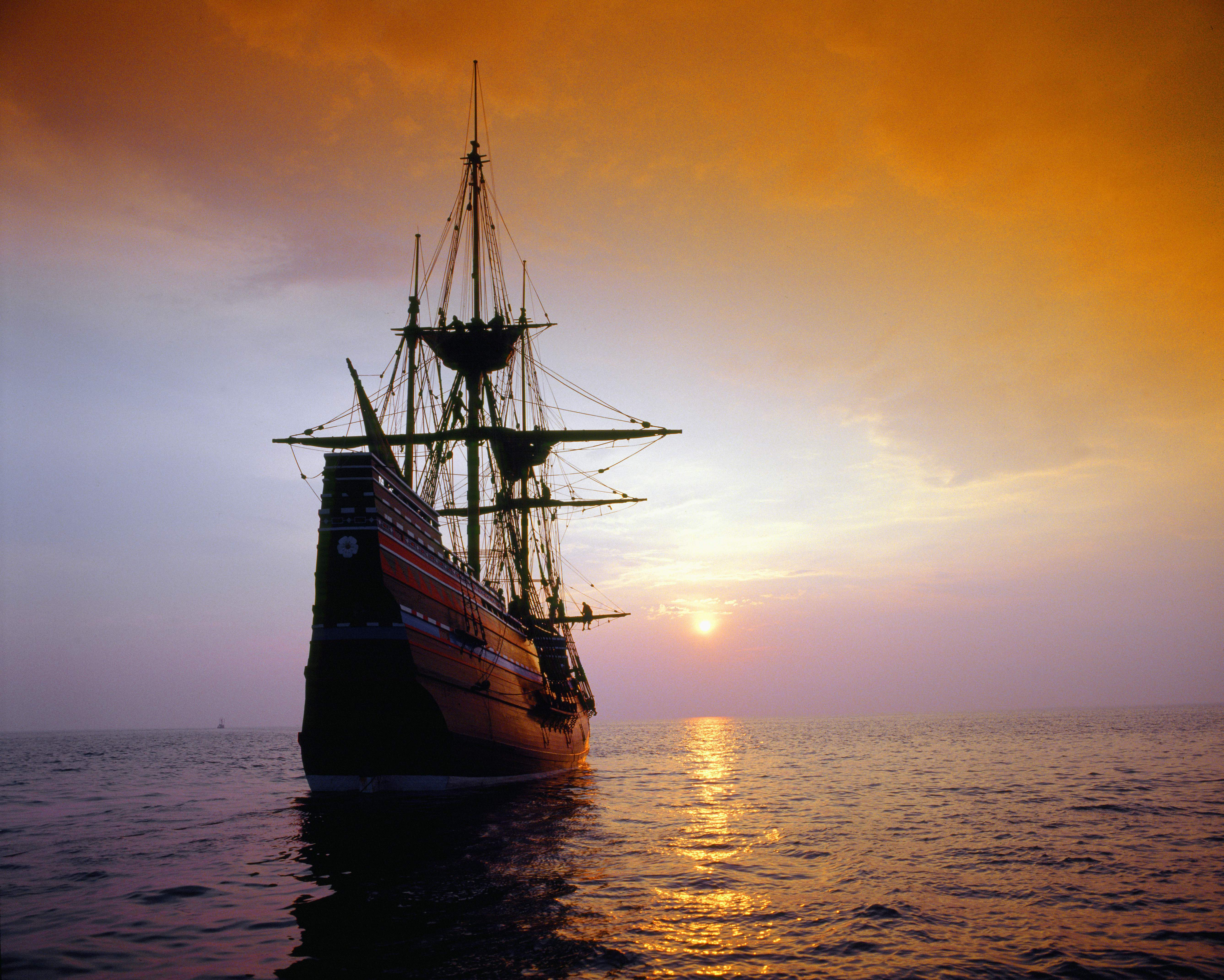 The Mayflower II replica at sunset in Massachusetts. A copy of the New Testament that came over on the Mayflower in the 1600s is one of more than a dozen historical items on exhibit at the Liberty Hills Academy open house on May 17, 2019.