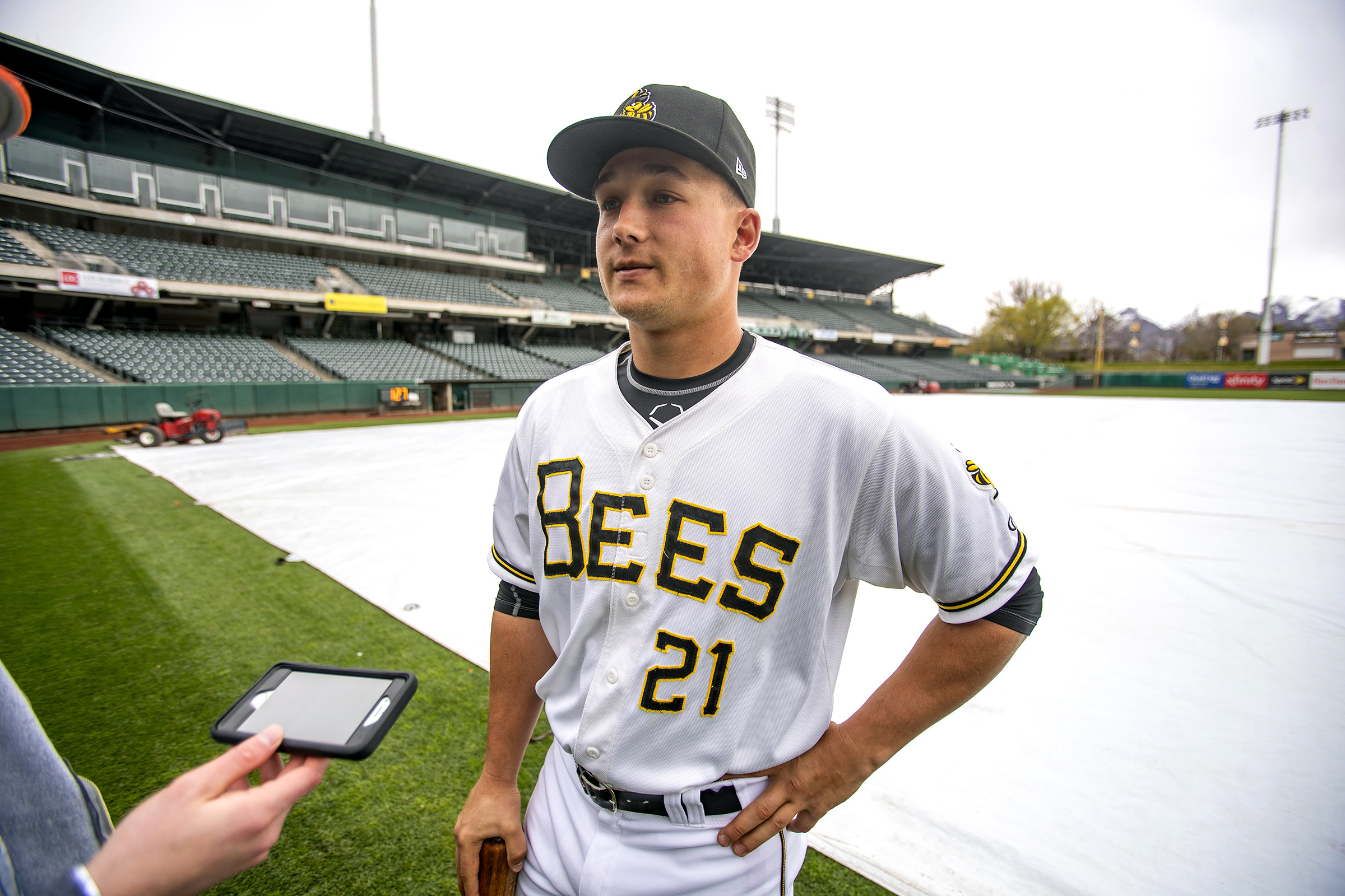 Bees' Matt Thaiss talks with media members as the Salt Lake Bees hold their media day at Smith's Ballpark on Tuesday, April 2, 2019.