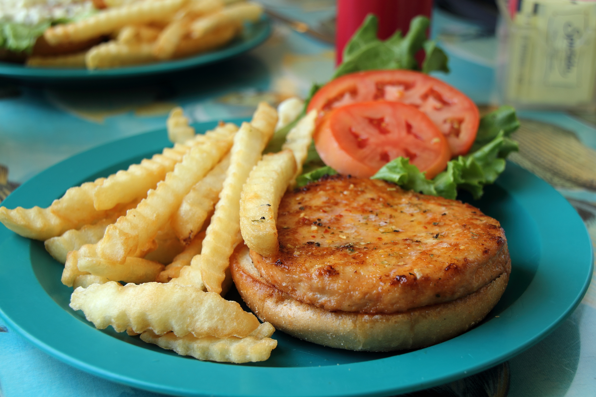 A salmon burger on a plate with lettuce, tomato, and fries
