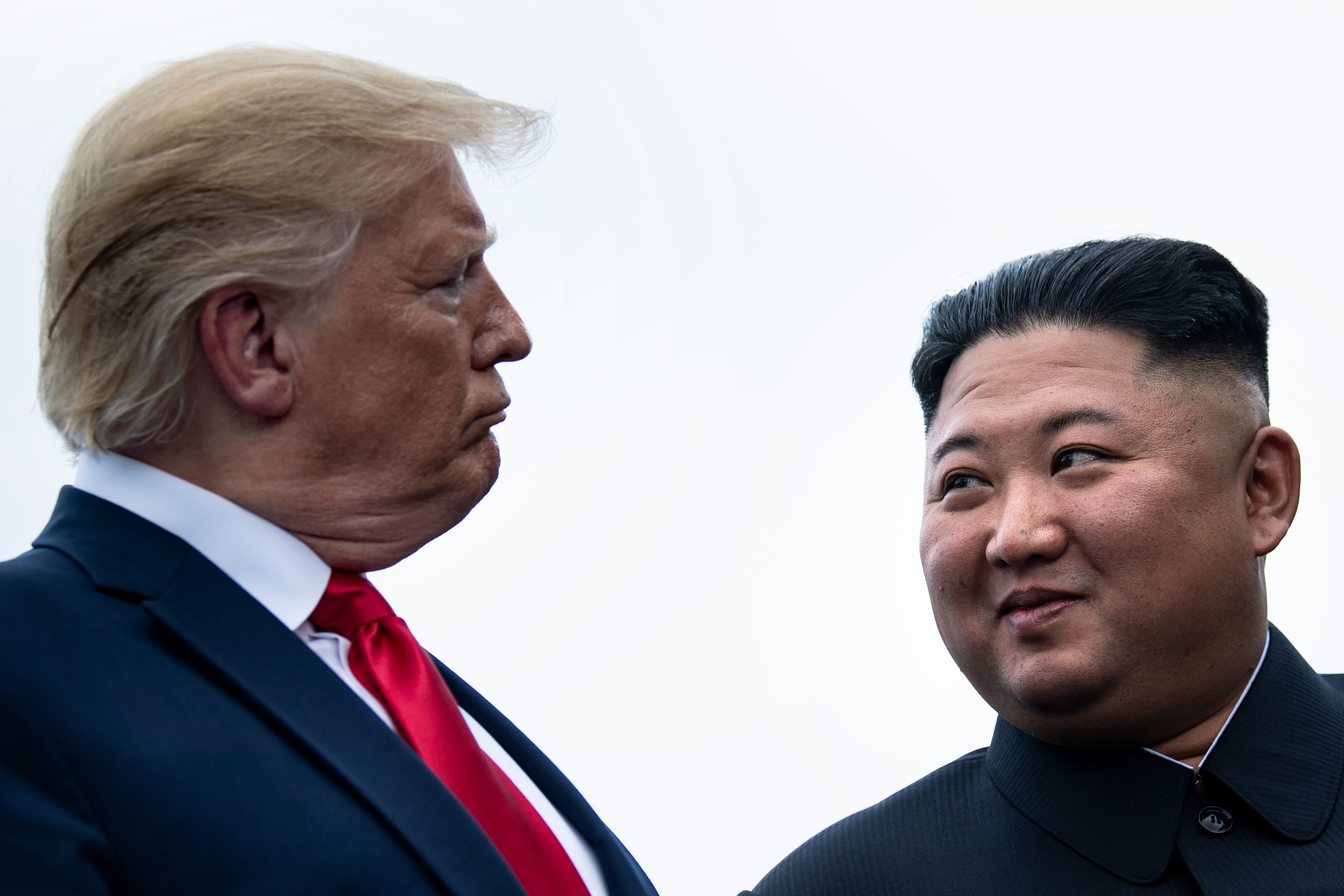 President Donald Trump and North Korean leader Kim Jong Un talk before a meeting in the Demilitarized Zone on June 30, 2019, in Panmunjom, Korea.