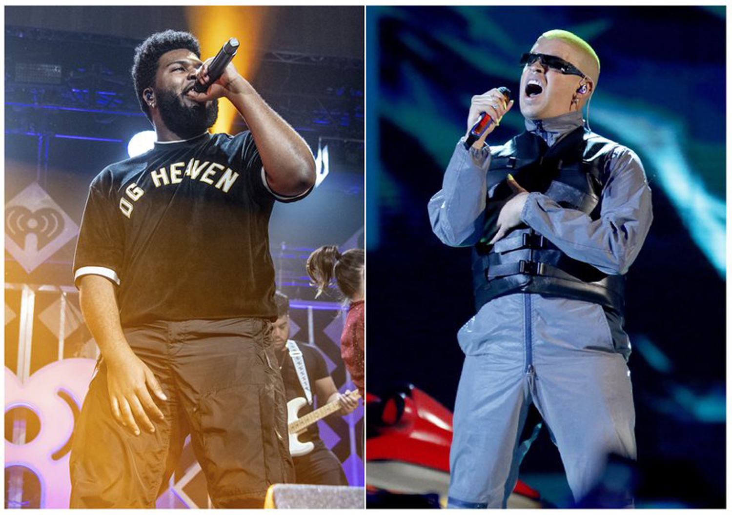 """Khalid (left) performing last December in Sunrise, Florida, and Bad Bunny at the Billboard Latin Music Awards in Las Vegas on April 25. They're among the performers who'll be part of Apple Music's """"Up Next Live"""" tour."""