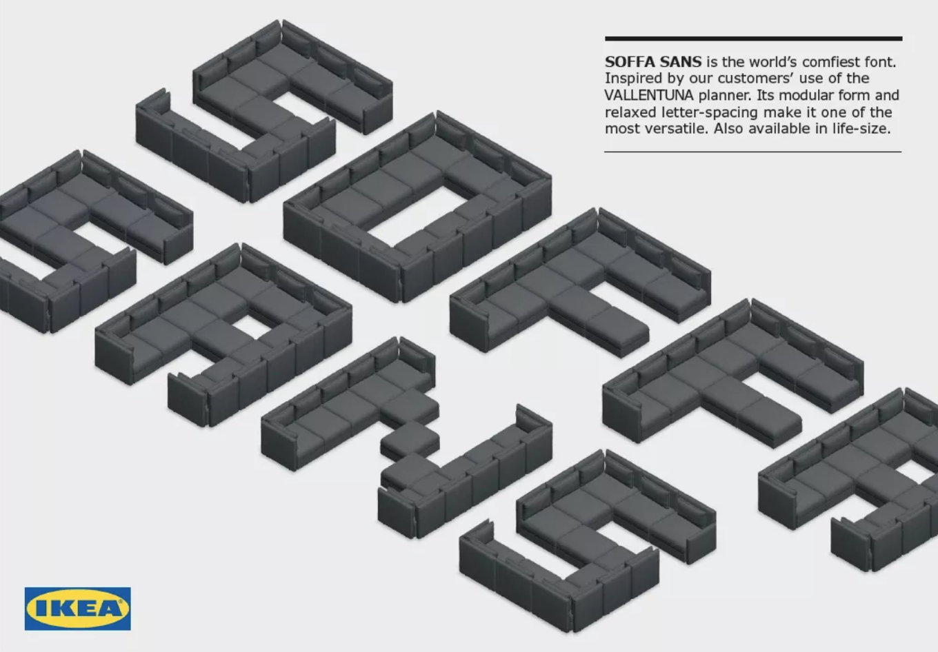 Rendering of font made from sofas